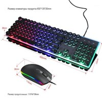 Teclado Mouse Combos Russo Backlit Gaming Set RGB Luz Optical Computador Computador Comprometo Teclado Keypad Kit1