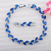 رابط، سلسلة الأزرق مكعب زركونيا أساور مجوهرات الزفاف للنساء دبي نمط الفضة اللون سحر كريستال أساور 2021