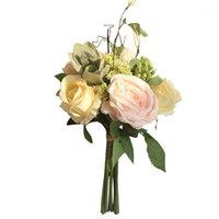 신부 홀더 꽃 결혼식 다채로운 신부 꽃다발 신부 부케 인공 장미 꽃 결혼식 꽃다발 홈 장식 1