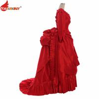 اكسسوارات زي costumebuy الفيكتوري القرون الوسطى روكوكو القوطية الرجعية الكرة ثوب أنطوانيت المرأة الملكة الأميرة اللباس الأحمر الفاخرة مخصص
