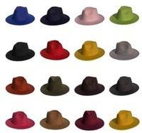 Erkekler Fedora Geniş Ağız Şapkalar Geniş Ağız Britanya Kap Bandı Geniş Düz Brim Caz Şapka Güneş Kremi Şapka Kış Bahar Açık Parti Şapka LSK1469