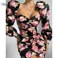 Vestidos casuais whatiwear 2021 verão mini vestido impressão flor festa rua streetwear Button Button Sleeve Vestidos de Festa1