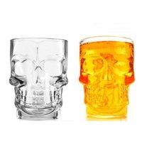 Creativa hecha a mano cráneo en forma de vidrio de cerveza taza de 500 ml de gran capacidad Bar KTV Vaso de cerveza con la manija de calavera de cristal cristalería Copas DH1191 T03