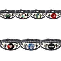 EJ Glaze Anime Attaque sur le logo Titan pour mariage Vintage Cabochon Cabier coloré Bracelet en cuir noir Bracelet1