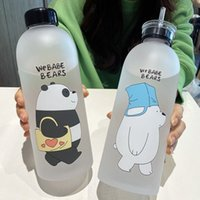 1000ml Bear Pattern Transparente Plastikflasche Cartoon Frosted Wasserflaschen Leak-proof Trinkgefäße Panda Polar Bear Brown Cup 201114
