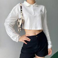 Casual solta lapela camisetas Branco manga comprida Top Curto T para Letter bordado Meninas