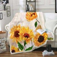 Подсолнечник бросает одеяло ретро шерпа одеяло винтажный стиль флористический плюш бросает старые буквы постели на кровать диван
