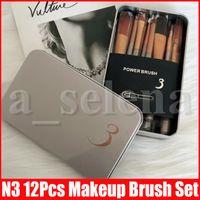 N3 12st / set Verfassungs-Bürsten-Berufskosmetik Gesichts-Bürsten-Ausrüstung Metall-Box-Bürsten-Satz-Gesichts-Puder-Bürste
