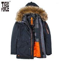 Men's Down Parka Tiger Force Force di alta qualità Uomo imbottito Parka Cotton Coat Giacca invernale Uomo Spessore Pelliccia Artificiale 1