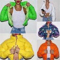 Deisgners Damen Winterjacke Baumwolle gefütterte Mantel Designer Leuchtende Farbe Mental Langarm Winddichtes Tops Frauen Baumwolle wadded D111101