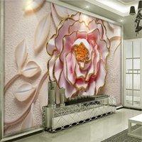 خلفيات الأزهار خلفيات 3d مجسمة تنقش الوردي الفاوانيا زهرة تزهر بو حائط أوراق ل غرفة المعيشة ورقة ديكور المنزل