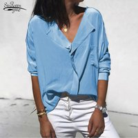 Blusas das mulheres Camisas Solta Casual Camisa de Manga Longa Cetim Tops Plus Size Elegent Work Wear V-Collar Chiffon Blusa 12418
