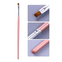 Картина кисти UV Gel Remover Pen Pink Handle порошок Clean Nail край кутикула чистого искусство ноготь инструмент сверло ноготь
