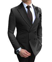 Royal Blue Hombres Trajes Doble Breasted 2021 Último Diseño Negro Burgoña Novio Use TUXEDOS BODA BESTEDOS El mejor traje de 2 piezas (chaqueta + pantalones)