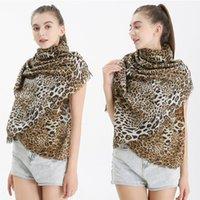 Kadın Atkı Kış Sonbahar Wrap Battaniye Uzun Saten Pamuk Sıcak Kalınlaşmış Lady Klasik moda yazdır leopard