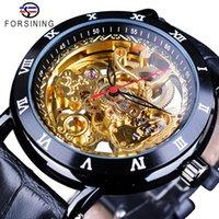 2020 Top Forsining Flor Retro Design Clássico Preto Golden Watch Genuine Leather Band Water Resistente a água Mecânica Relógios Automáticos