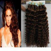 Ruban homme brun clair dans Kinky Curly 100g 40pcs Lot non Remy Brésilien Human Human Cheveux Peau Tape de trame dans les extensions de cheveux