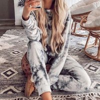 Femmes Casual Tie Cravate Teinture Tracksuit Pijama Accueil Two Piece Set Lounge Porter Sweatshirts Costume Tenue en vrac Ropa Mujer Vêtements d'automne