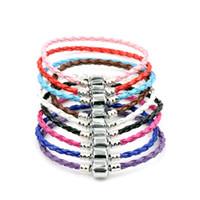 Einzelverschluss Lederarmbänder Ketten für Pandora Armbänder 17cm 19cm 21 cm 20 teile / los 57colors Armband Fit Europäischen Charme Perlen 65 N2