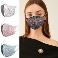 Быстрой DHL оптовой 3D Алмазной Разработанный маска пыл дышащего Mouth крышка Роскошные маски Bling Стразы лицо моющегося Антибактериальные