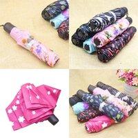 Amantes dobram o guarda-chuva Curto punho colorido flor de moda guarda-chuvas quentes de venda superior com diferentes padrões 4 73CP J1