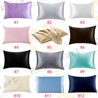 20 * 26 pulgadas de seda almohada de satén 12 colores resbalones enfriando cremallera almohada caja de hielo sedas para hielo Suministros para labedores de almohadas para pieles
