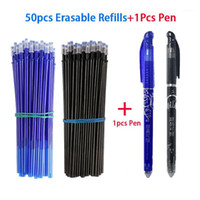 51 teile / satz 0.5mm blau schwarze Tinte löschbare Nachfüllstange löschbarer Stiftgel-Stift schreiben Schreibwaren1