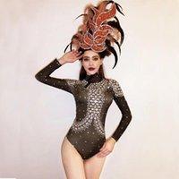 Bühne tragen sparsame Rhinestone Goldene Feder Kopfschmuck Body Leggings Nachtclub Frauen Tanzleistung Outfit Geburtstagsfeier Wear1