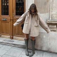 Puwd mulher casual camelo solto bolso lã camisa moda senhoras outono manga longa grosso blusa casaco feminino longo outwear 201221