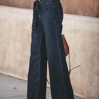 Mujeres Moda Denim Tie Blare Boyfriend Ladies High Cintura Campana Pantalones de fondo otoño suelto pierna ancha Jeans Y200417