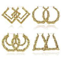2019 2020 Modeschmuck Mehrere Formen Ethnische Große Vintage Gold Überzogene Bambus-Hoop-Ohrringe für Frauen 9 Modi Freie Wahl