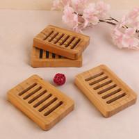 Platos de jabón natural de bambú Bandeja sostenedor del jabón de almacenamiento en rack Placa envase de la caja portátil Baño Jabonera Caja de almacenamiento FF359