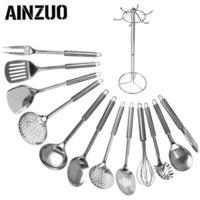 AINZUO 13 ADET Paslanmaz Çelik Mutfak Eşyaları Kaşık Skimmer Kürek Spatula Et Çatal Yumurta Çırpıcı Pişirme Eşyaları Mutfak Eşyaları 201223