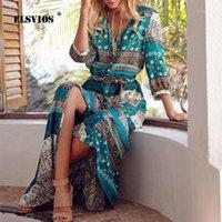 Günlük Elbiseler Elsvios Kadınlar Çiçek Baskı Uzun Maxi Elbise Bohemia Üç Çeyrek Kollu V Yaka Etnik Yaz Plaj Kadın Bölünmüş Elbiseler1
