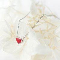 colliers bijoux en Chine de vente directe de 100% en argent 925 collier fin Ensemble de bijoux Bracelet boucle d'oreille rouge en forme de coeur de conception Jewel