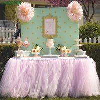 75 * 100 cm multi cores saia saia festa tulle tutu casa decoração com toalha de mesa com 3 clipes de mesa decoração festa de casamento1