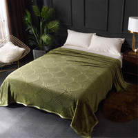 Solid- Color Embossed Flannel Blanket Air- Conditioned Nap Bla...