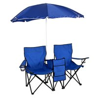 Portable Outdoor 2- Seat Folding Chair with Removable Sun Umb...