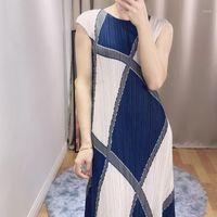 2020 Verão Solta Cor Matching Women's Dress Miyak Dobra Estilo Ocidental Plus Size Seção fina foi fina Tide Mid-Length Vestido 781