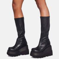 Brand New Big Size 43 Шнурки Клин Высокие каблуки платформы Tide Модные Прохладный Осень Зима Середина-теленок сапоги Обувь Женская обувь 201020