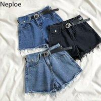 Shorts femininos Neploe Demin Mulheres Cinto Cintura alta 2021 Verão Coreano Causal Bottoms Borla Bolsos Jeans Curto Femineno 4B2521