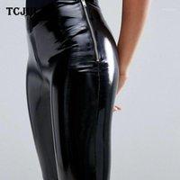 Tcjuly novo design streetwear slim stretchy pu calças de couro magro push up preto calças mulheres moda lado zíper lápis pants1