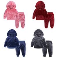 Kids Baby Boy Ropa Terciopelo con capucha + Pantalones 2 piezas Set Boys Girls Ropa para niños Traje para niños Trajes de niños Traje de ropa 1-7Y
