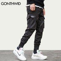 Gonthwid cinta hebilla múltiples bolsillos harem joggers pantalones streetwear hombres hip hop casual carga pantalones pantalones pantalones masculinos 201144