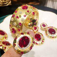 여성을위한 도매 큰 패션 럭셔리 3PC 팔찌 반지 귀걸이 세트 웨딩 신부 큐빅 지르코니아 두바이 파티 쥬얼리 Boho 2021