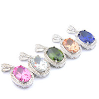 Mix 5PCS do arco-íris New Luckyshine 925 esterlina Oval clássico prata rosa Topaz Peridot Morganite Gems Colares para a senhora do presente do partido