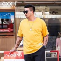 GXXH Big Size T-shirt da uomo manica corta Estate Plus Size Tshirt in cotone Top Oversize Casual T Shirt XXL XXXL 6XL 7XL Tee1 giallo1