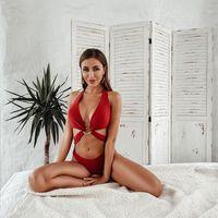 Низкая талия Сексуальные стринги Купальники 2020 Push Up Новый Кусок Бикини Женщины Купальник Глубокий V-образным вырезом Бикини Бандаж Купальный костюм Monokini1