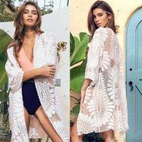 Traje de baño para mujer 2021 Moda Mujeres Color Sólido Blusa Playa Vintage Floral Flojo Shawl Kimono Cardigan Boho Tops Tops Smock Up1