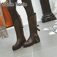 Sianie Tianie 2020 hiver nouveau bracelet boucle bout rond plateforme western bottes de cow-girl équitation bottes mi-mollet équestres pour les femmes
